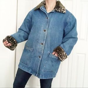 Vintage Denim leopard Faux Fur Winter Car Coat M